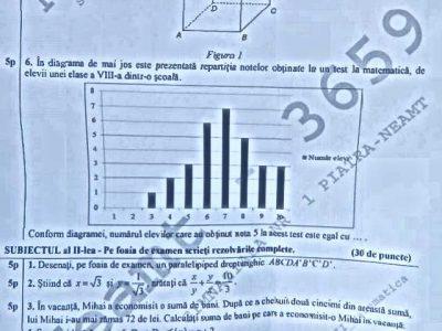 evaluare matematica subiect